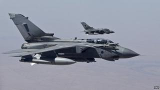 RAF Tornado returning to RAF Akrotiri in Cyprus after an armed mission last year