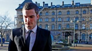Footballer Adam Johnson arrives at Bradford Crown Court