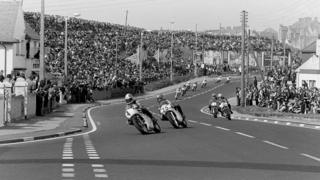 Big crowds watch riders racing in the North West 200