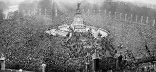 Crowds outside Buckingham Palace