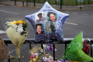 Picture of tributes to 15-year-old Jay Hughes who was stabbed and killed in London in November