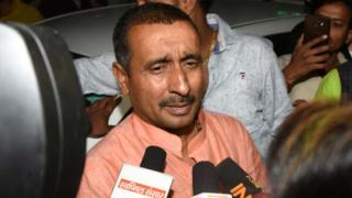BJP MLA Kuldeep Singh Sengar, the main accused for allegedly raping a 17-year-old Dalit girl in Uttar Pradesh's Unnao, speaks to media personnel outside SSP office, on April 11, 2018 in Lucknow, India.