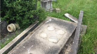 the damage to graves at Maesteg cemetery