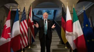 Boris Johnson during the G7 foreign ministers' meeting in Toronto, Ontario