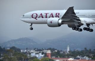 A Qatar Airways aircraft coming in for a landing at Los Angeles International Airport on 21 March, 2017