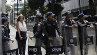 Police in Venezuela block off the opposition-controlled National Assembly, 14 May 2019