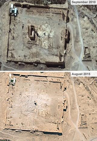 Temple of Bel before and after its destruction by IS