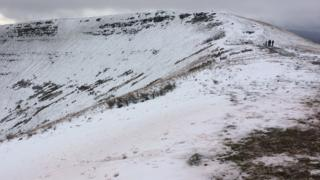 Brecon Mountain Rescue Team out in the snow