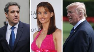 From left: Michael Cohen, Karen McDougal, Donald Trump