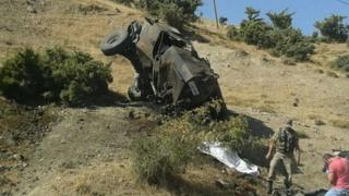 Damaged army vehicle at scene of attacks in Siirt - 19 August