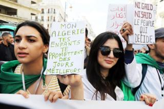 Algerian protesters calling for the resignation of Bouteflika