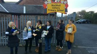 Teaching assistants picket line in Blackhall near Peterlee