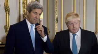 ABD Dışişleri Bakanı John Kerry ve İngiltere Dışişleri Bakanı Boris Johnson