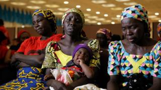 Parents of the Chibok girls attend the meeting with President Muhammadu Buhari