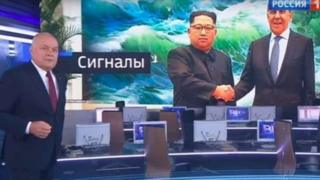 Screen shot of Kim Jong-un shaking hands with Sergey Lavrov