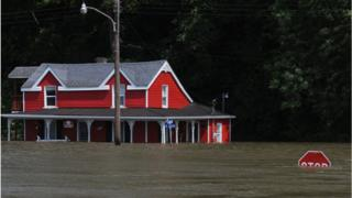 Flooding from the Mississippi River inundates a neighbourhood on June 7, 2019 in Grafton, Illinois.