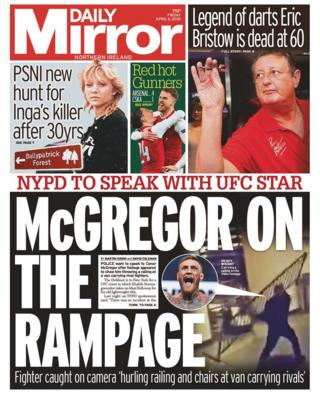 front page of the Daily Mirror Friday 6 April 2018