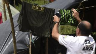 "A member of the Revolutionary Armed Forces of Colombia (FARC) is pictured at the Transitional Standardization Zone, ""Marquetalia Cradle of Resistance"", in Gaitania, Tolima Department, Colombia, on May 28, 2017"