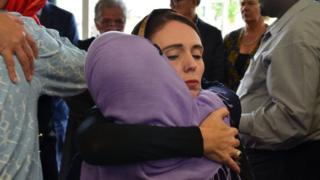 Jacinda Ardern hugs woman in Christchurch