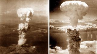 Two photos showing the mushroom clouds over Hiroshima and Nagasaki