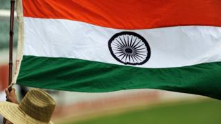 Indian flag at a cricket match in 2012
