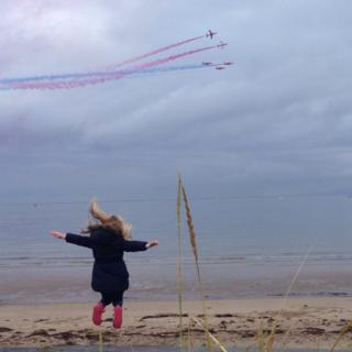 This is my daughter Hannah Clark, 6 years old, from Ayr so excited to see the red arrows at the Scottish Airshow tonight.