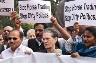 Indian congress lawmakers including their president Sonia Gandhi (C) protest against the Bharatiya Janata (BJP) at the parliament house in New Delhi, India, 25 November 2019