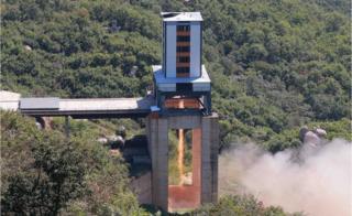 先月公開されたロケット噴射の性能テスト時の写真。撮影時期は不明