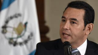 Jimmy Morales during a press conference in Guatemala city