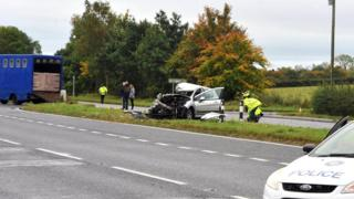 The scene of the collision between a car and a lorry in County Antrim