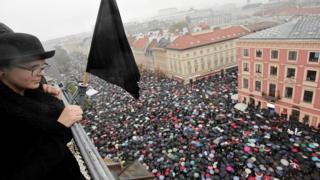 Varşova'daki eylemin yukarıda görüntüsü.