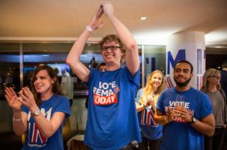 Supporters of the Stronger In Campaign cheer a