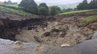 Damaged road in Glenelly