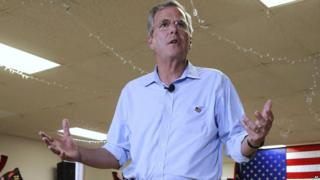 Jeb Bush speaks at a town hall in New Hampshire
