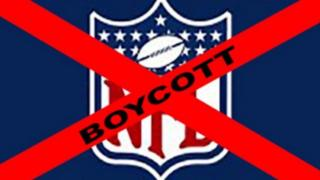 A NFL logo with a red cross though it and the word 'boycott'