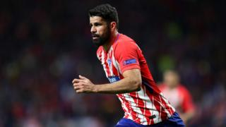 Diego Costa of Atletico Madrid in action during the UEFA Europa League Semi Final second leg match between Atletico Madrid and Arsenal FC at Estadio Wanda Metropolitano on May 3, 2018 in Madrid, Spain.