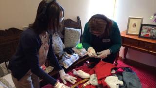 carers using dementia training kit