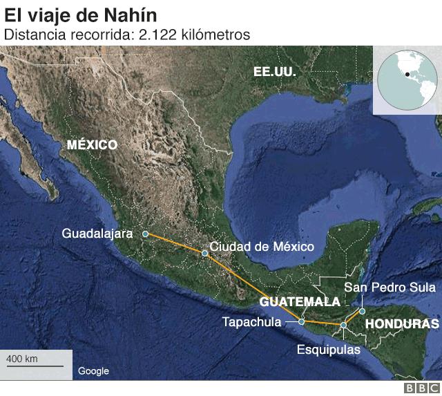 Mapa del recorrido que hizo Nahín desde Honduras hasta México.