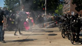 Police use pepper spray against protesters in Seattle