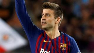 Gerard Pique celebrates equalising for Barcelona