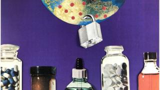 Collage showing an earth with a padlock and bottles of pills in the forefront.