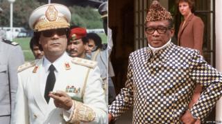 Col Gaddafi, left, Mobutu Sese Seko