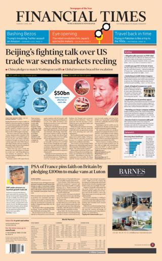 Financial Times front page 5th April