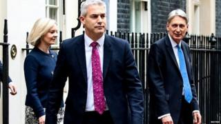 Steve Barclay with Philip Hammond and Liz Truss on Budget Day in 2017