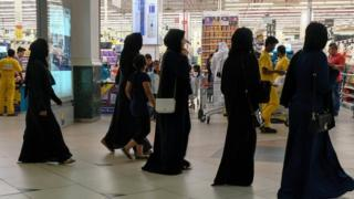 Women at a supermarket in Doha, Qatar, 6 June 2017