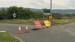 Road closed sign on A417
