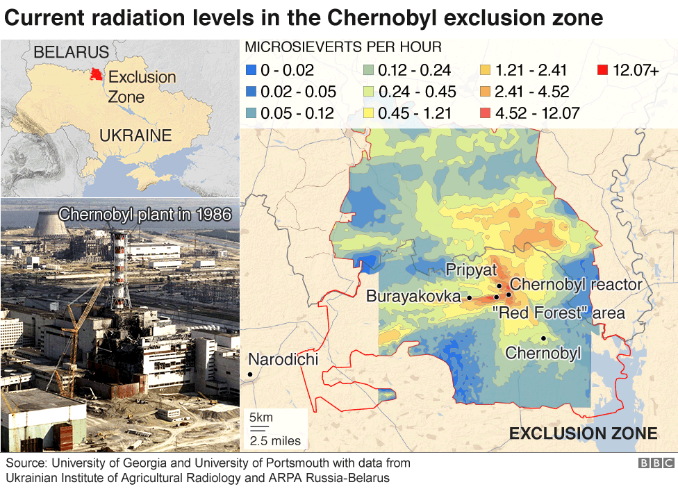 Map: Current radiation levels in the Chernobyl exclusion zone
