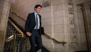 Canadian Prime Minister Justin Trudeau walks to the House of Commons