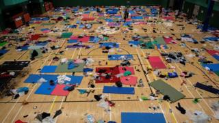 A gymnasium used by protesters as a dormitory is seen inside the Hong Kong Polytechnic University