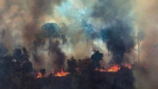 A handout photo from Greenpeace Brazil showing smoke rising from the fire at the Amazon forest on 23 August 2019